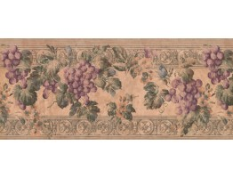 10 in x 15 ft Prepasted Wallpaper Borders - Violet Grapes Wall Paper Border