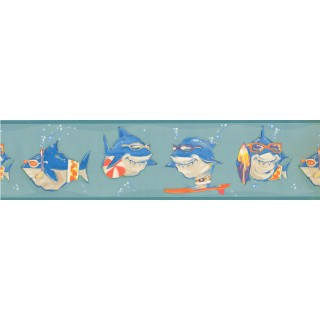 6 in x 15 ft Prepasted Wallpaper Borders - Fish Wall Paper Border KJ0315