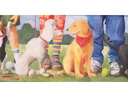 Prepasted Wallpaper Borders - Dogs at Play Ground Wall Paper Border