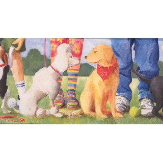 10 in x 15 ft Prepasted Wallpaper Borders - Dogs at Play Ground Wall Paper Border