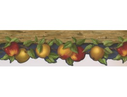 Prepasted Wallpaper Borders - Yellow Fresh Apples Wall Paper Border