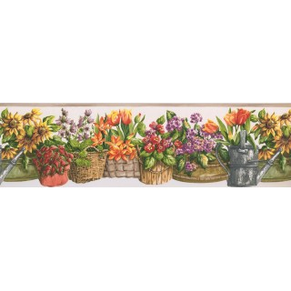 6 1/2 in x 15 ft Prepasted Wallpaper Borders - Beige White Floral Baskets Wall Paper Border