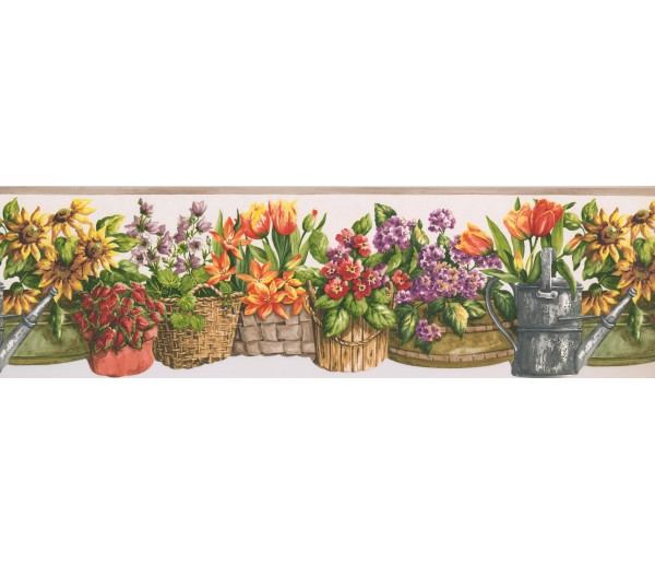 Garden Borders Beige White Floral Baskets Wallpaper Border