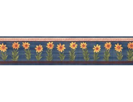 Prepasted Wallpaper Borders - Blue Sunflower Wall Paper Border