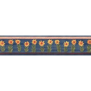 15 ft Prepasted Wallpaper Borders - Blue Sunflower Wall Paper Border