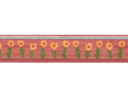 Prepasted Wallpaper Borders - Old Rose Sunflower Wall Paper Border