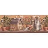 Bird Houses Wallpaper Borders: Taupe Plants in Pots Wallpaper Border