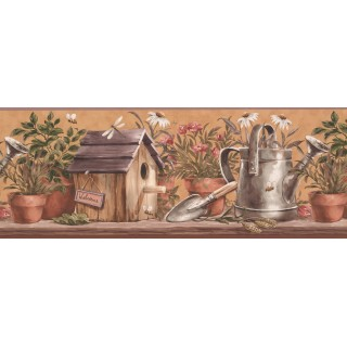 9 in x 15 ft Prepasted Wallpaper Borders - Taupe Plants in Pots Wall Paper Border