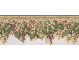 Prepasted Wallpaper Borders - Violet Grapes Plant Wall Paper Border