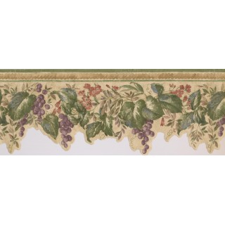 9 in x 15 ft Prepasted Wallpaper Borders - Violet Grapes Plant Wall Paper Border