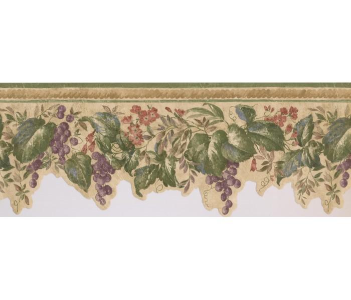 Garden Wallpaper Borders: Violet Grapes Plant Wallpaper Border