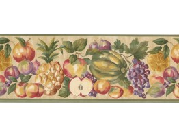8 1/2 in x 15 ft Prepasted Wallpaper Borders - Green Cream Pineapple Peach Apple Wall Paper Border