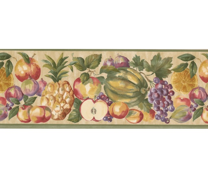 Clearance: Green Cream Pineapple Peach Apple Wallpaper Border