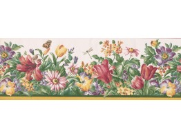 Prepasted Wallpaper Borders - Red Cream Flower Garden Wall Paper Border