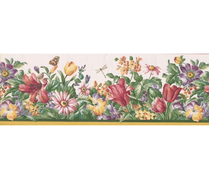 Floral Wallpaper Borders: Red Cream Flower Garden Wallpaper Border