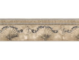 6 1/2 in x 15 ft Prepasted Wallpaper Borders - Silver Gold Stone Sea Shell Molding Wall Paper Border