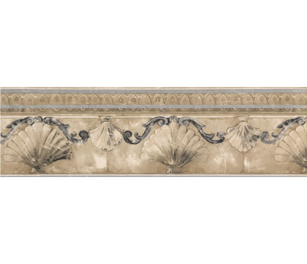 Architectural Borders Silver Gold Stone Sea Shell Molding Wallpaper Border