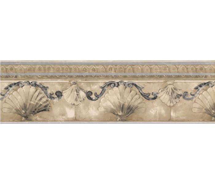 Architectural Wall Borders: Silver Gold Stone Sea Shell Molding Wallpaper Border