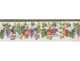 7 in x 15 ft Prepasted Wallpaper Borders - Green White Apple Grape Vines Wall Paper Border