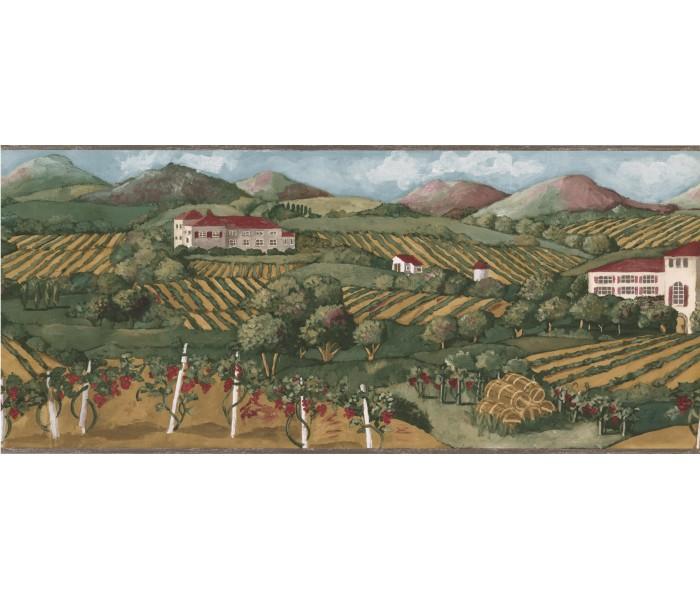 Garden Wallpaper Borders: Green Farm Garden Wallpaper Border