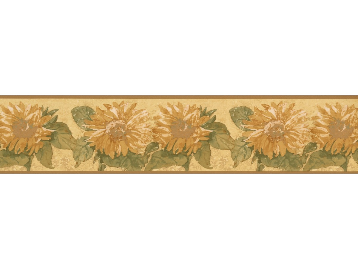 5 in x 15 ft Prepasted Wallpaper Borders Bright Yellow Sunflower Wall Paper Border
