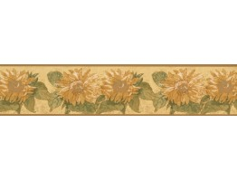 Prepasted Wallpaper Borders - Yellow Background Sunflower Wall Paper Border