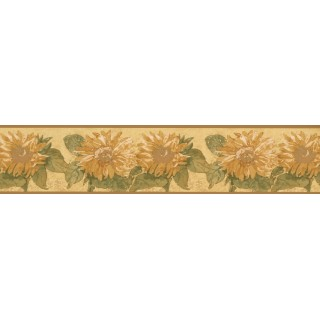 5 in x 15 ft Prepasted Wallpaper Borders - Yellow Background Sunflower Wall Paper Border