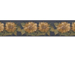 Blue Background Sunflower Wallpaper Border