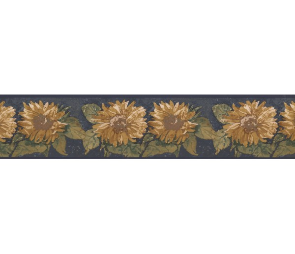 Sunflowers Blue Background Sunflower Wallpaper Border York Wallcoverings