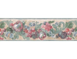 Prepasted Wallpaper Borders - Teal Cream Red Apples Grapes Floral Wall Paper Border