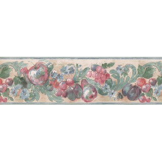6 1/2 in x 15 ft Prepasted Wallpaper Borders - Teal Cream Red Apples Grapes Floral Wall Paper Border