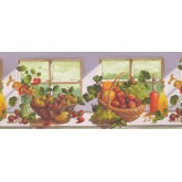 Garden Wallpaper Borders: Grapes and Fruit Basket Wallpaper Border
