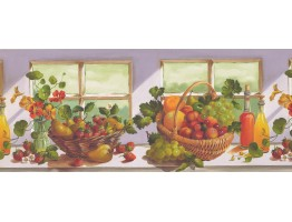 10 in x 15 ft Prepasted Wallpaper Borders - Grapes and Fruit Basket Wall Paper Border