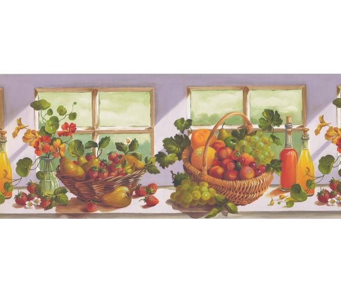 Garden Wallpaper Borders: Grapes and Fruit Basket Wallpaper Border