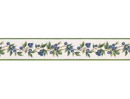 Prepasted Wallpaper Borders - Blue Berries Green Leaves Wall Paper Border