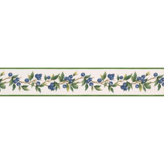 5 in x 15 ft Prepasted Wallpaper Borders - Blue Berries Green Leaves Wall Paper Border