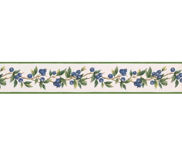 Garden Wallpaper Borders: Blue Berries Green Leaves Wallpaper Border
