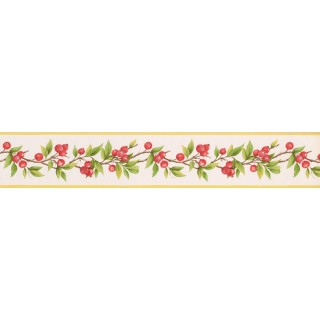 5 in x 15 ft Prepasted Wallpaper Borders - Red Berries Plant Wall Paper Border