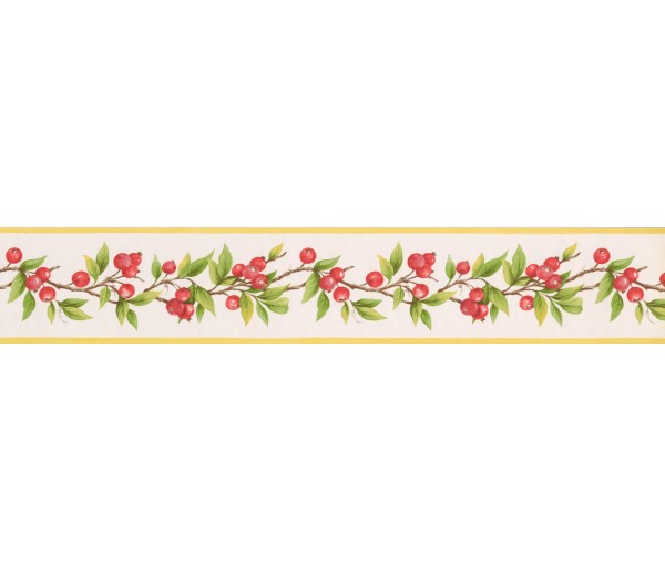 Prepasted Wallpaper Borders - Red Berries Plant Wall Paper Border