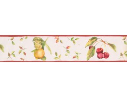 5 in x 15 ft Prepasted Wallpaper Borders - White Background Red Berries Fallen Wall Paper Border