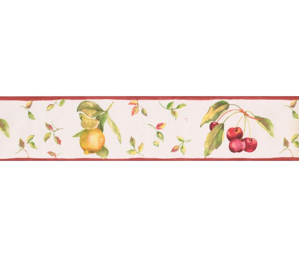 Clearance: White Background Red Berries Fallen Wallpaper Border