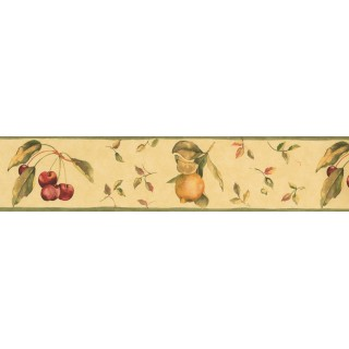 5 in x 15 ft Prepasted Wallpaper Borders - Paper Background Red Berries Fallen Wall Paper Border