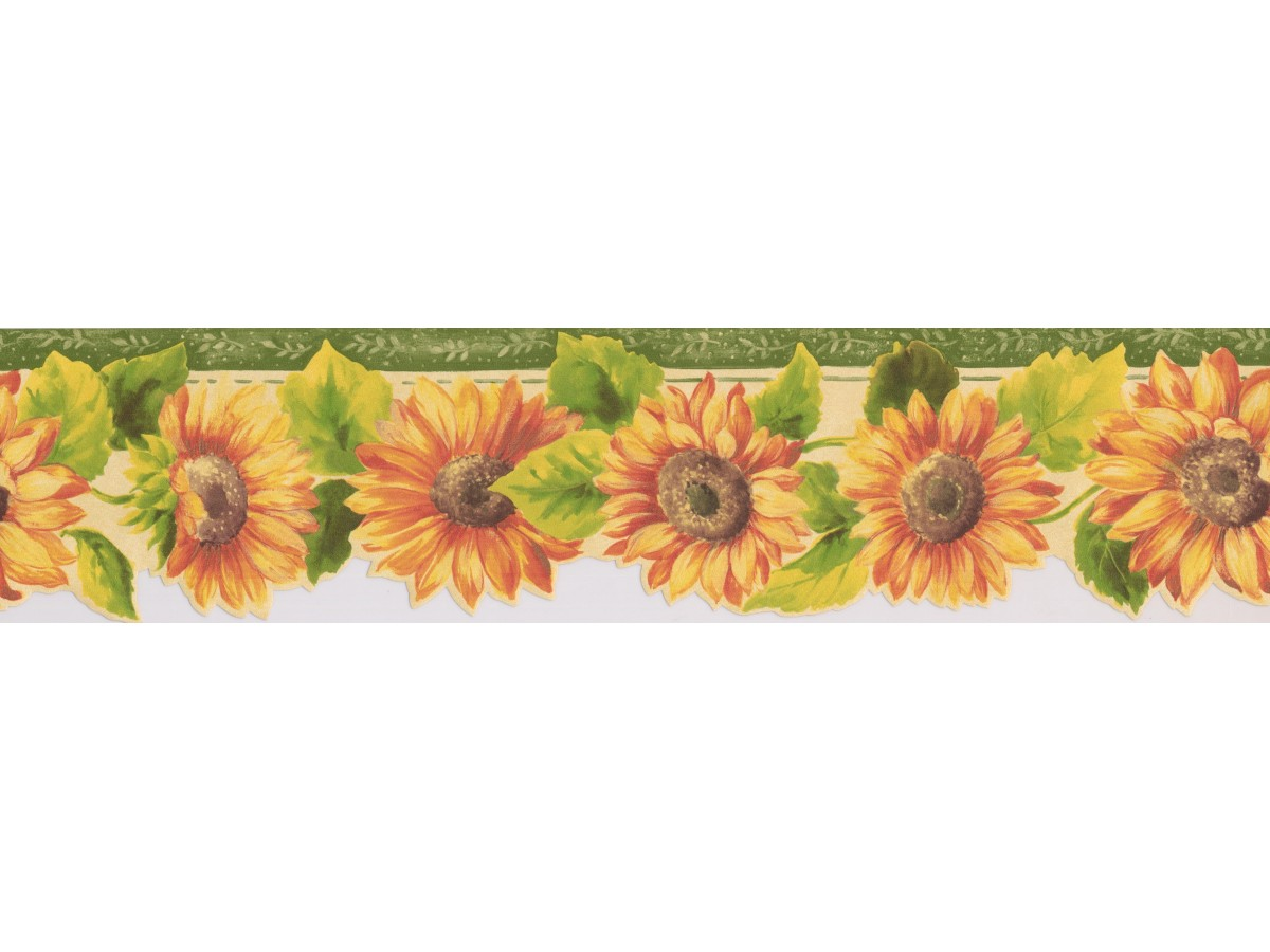Sunflower Wallpaper Borders : Bright Yellow Sunflower