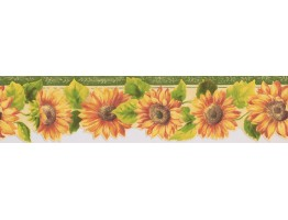 Prepasted Wallpaper Borders - Bright Yellow Sunflower Wall Paper Border
