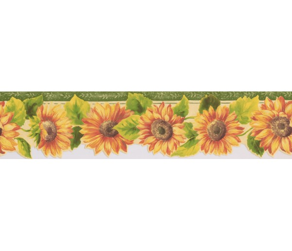 Sunflowers Bright Yellow Sunflower Wallpaper Border York Wallcoverings