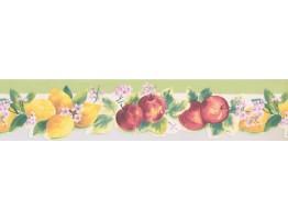 5 in x 15 ft Prepasted Wallpaper Borders - Lemon Apple Wall Paper Border