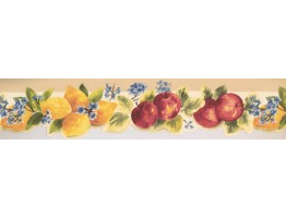 Prepasted Wallpaper Borders - Apple Blue Flowers Wall Paper Border