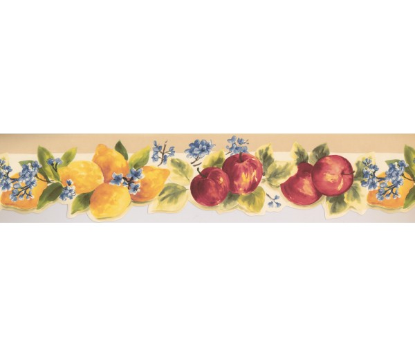 Garden Borders Apple Blue Flowers Wallpaper Border York Wallcoverings