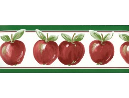 Green Red Running apple Wallpaper Border