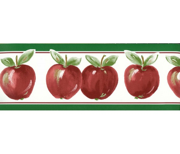 Prepasted Wallpaper Borders - Green Red Running apple Wall Paper Border